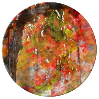 Grape Vines in the Fall Porcelain Plate