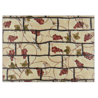 Grape Vines on Brick Tiles Cutting Board