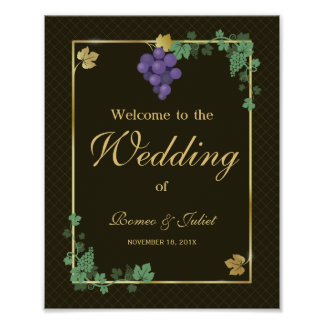 Grape Vines Welcome Wedding Reception Sign
