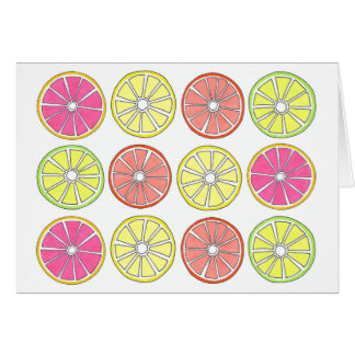 Grapefruit Lemon Lime Orange Citrus Fruit Slices Card