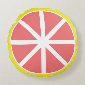 Grapefruit Slice Round Pillow