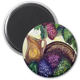 Grapes and Brass Pitcher 2 Inch Round Magnet