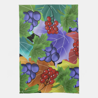 grapes and leaves kitchen towel