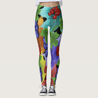grapes and leaves leggings