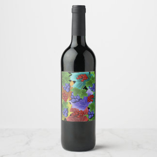 grapes and leaves wine label