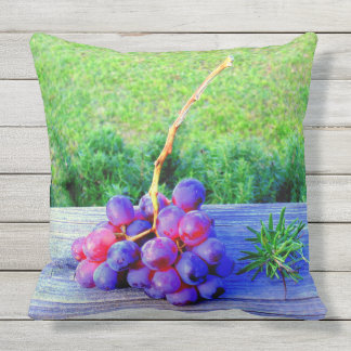 Grapes and Rosemary Outdoor Pillow
