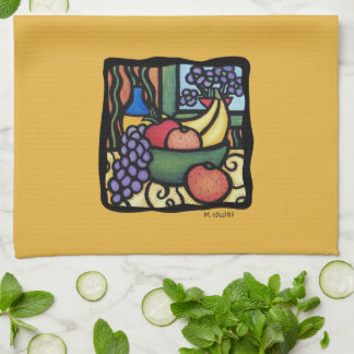Grapes Apple Bananas Oranges Mixed Fruit Yellow Kitchen Towel