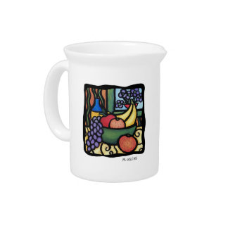Grapes Apple Oranges Colorful Fruit Pop Kitchen Pitcher