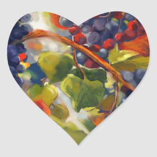 Grapes Art Heart Sticker