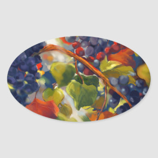 Grapes Art Oval Sticker