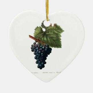 Grapes Ceramic Heart Ornament