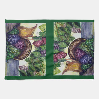 Grapes Grape Leaves Brass Pitcher Art Hand Towel