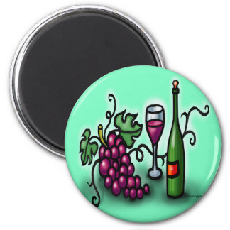 Grapes n Wine 2 Inch Round Magnet