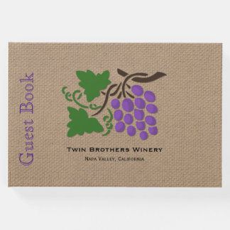 Grapes on Burlap Wine Theme Guest Book