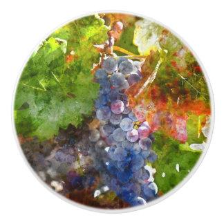 Grapes on the Vine in the Autumn Season Ceramic Knob