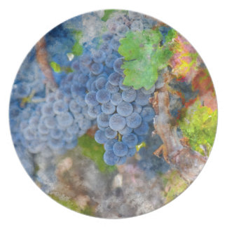Grapes on the Vine in the Autumn Season Dinner Plate