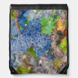Grapes on the Vine in the Autumn Season Drawstring Bag