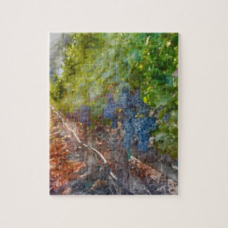 Grapes on the Vine in the Autumn Season Jigsaw Puzzle