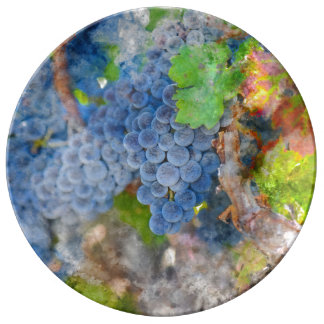 Grapes on the Vine in the Autumn Season Plate