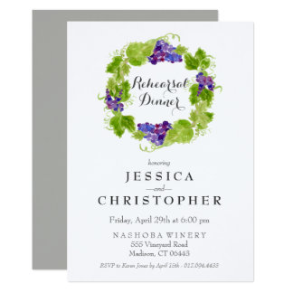 Grapes on the Vine Wine Rehearsal DinnerInvitation Card