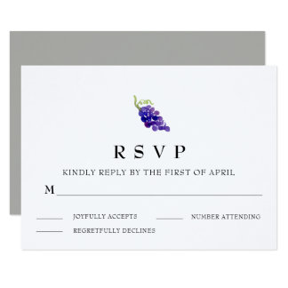 Grapes on the Vine Wine Wedding RSVP Card