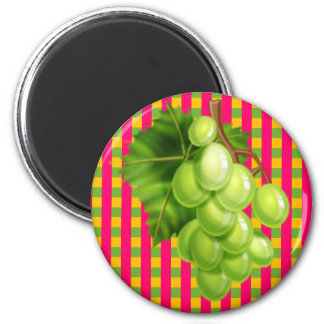 Grapes Plaid 2 Inch Round Magnet