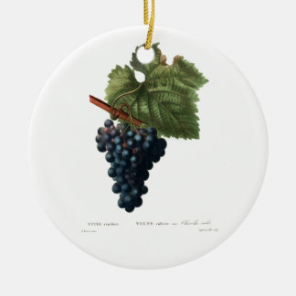 Grapes Round Ceramic Ornament
