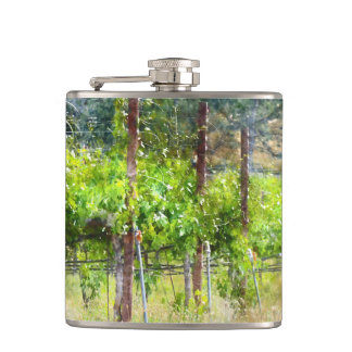 Grapes Vines in Spring in Napa Valley California Hip Flask
