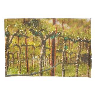 Grapes Vines in Vineyard during Spring Pillowcase