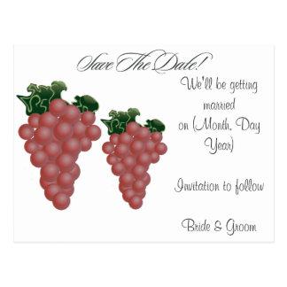 Grapes/Vineyard Custom Save the Date Postcard