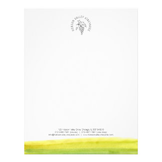 Grapes vineyard winery watercolor letterhead