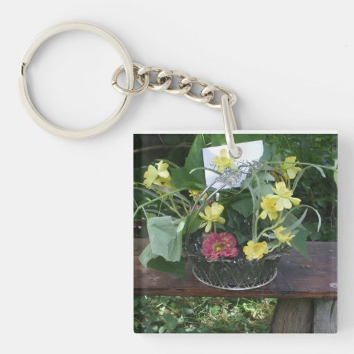 Grapevine & Flowers Keychain Square Acrylic Key Chains