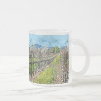 Grapevines in a Row in Napa Valley California Frosted Glass Coffee Mug