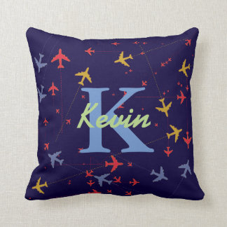 graphic airplanes personalized throw pillow