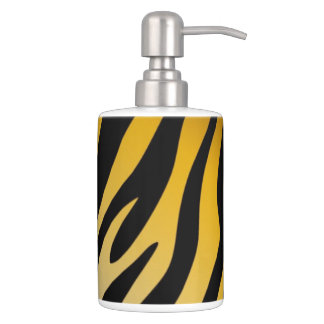 Graphic Animal Print Black Orange Tiger Soap Dispenser And Toothbrush Holder
