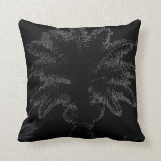 Graphic art palm tree on black throw pillow