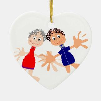 Graphic Art - Two Friends Ceramic Heart Ornament