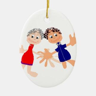 Graphic Art - Two Friends Ceramic Oval Ornament