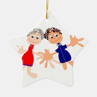 Graphic Art - Two Friends Ceramic Star Ornament