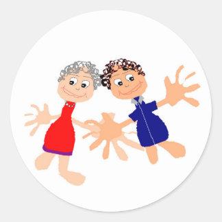 Graphic Art - Two Friends Classic Round Sticker