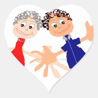 Graphic Art - Two Friends Heart Sticker