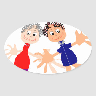 Graphic Art - Two Friends Oval Sticker