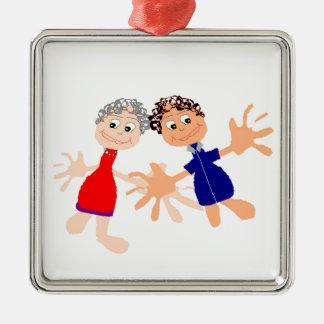 Graphic Art - Two Friends Silver-Colored Square Ornament