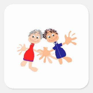 Graphic Art - Two Friends Square Sticker