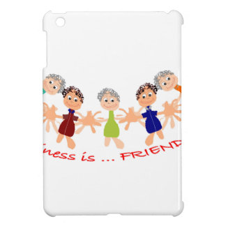 """Graphic Art with """"Happiness is... Friends""""text iPad Mini Cover"""