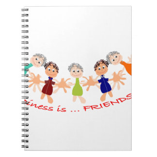 """Graphic Art with """"Happiness is... Friends""""text Notebook"""