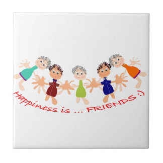 """Graphic Art with """"Happiness is... Friends""""text Tile"""