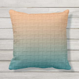 Graphic Basket Weave Pattern Gradient Teal Brown Outdoor Pillow
