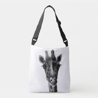 Graphic black and white giraffe crossbody bag