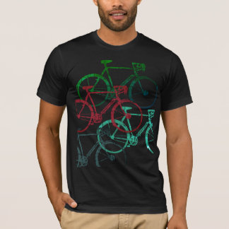 graphic black tee of color bicycles . biking